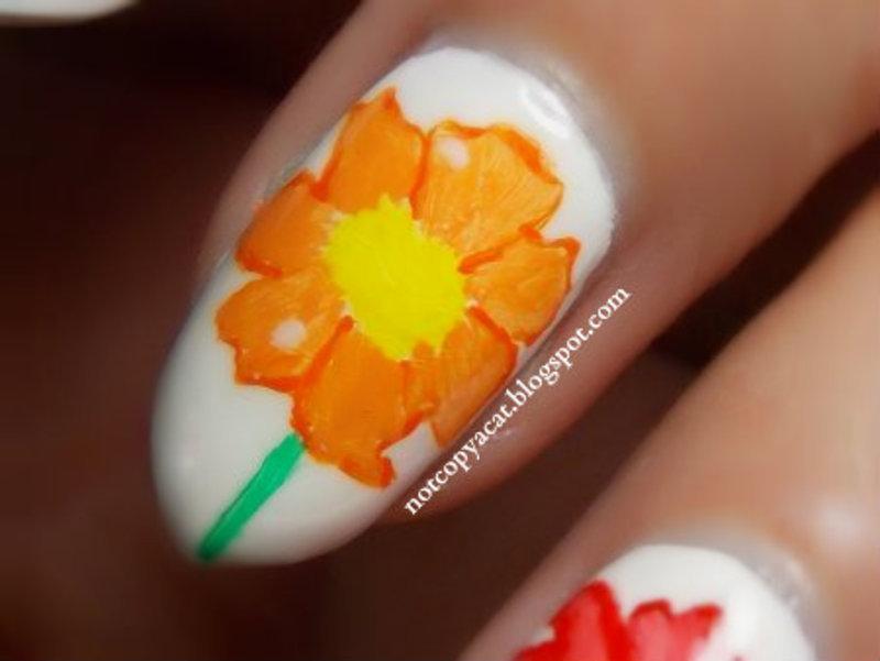 Flowery freehand: close-up. nail art by notcopyacat