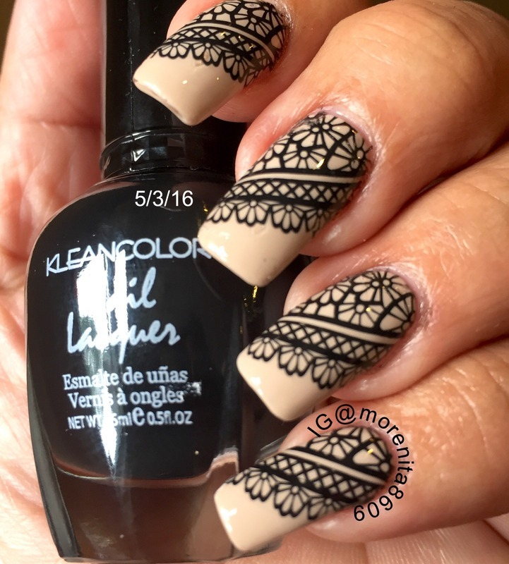 Black Lace on Nude Nails nail art by Morenita  Morena