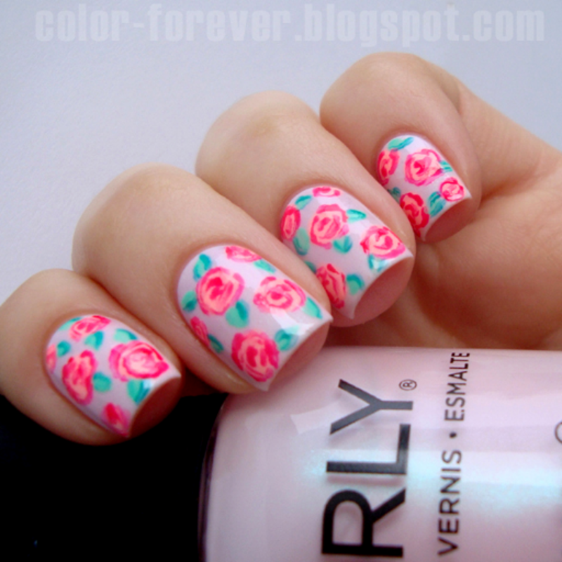 spring neon roses nail art by ania