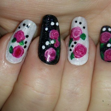 Dotted rose nail art by Maureen Spaulding