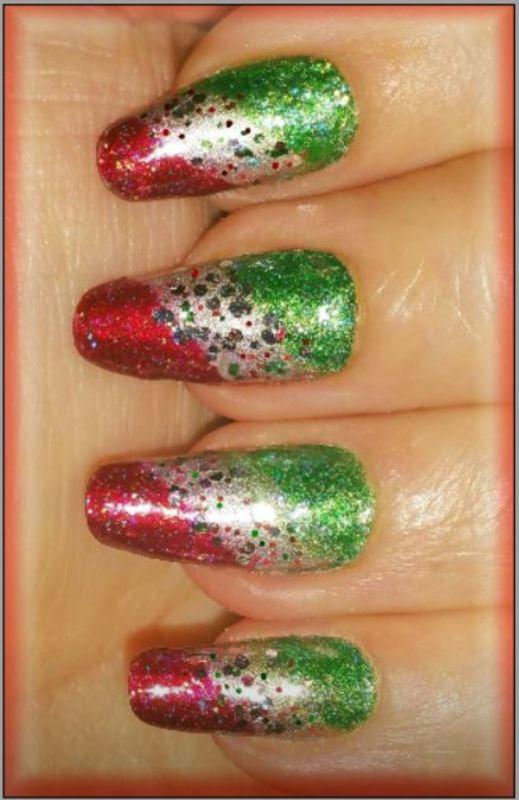 Christmas stripes nail art by Maureen Spaulding