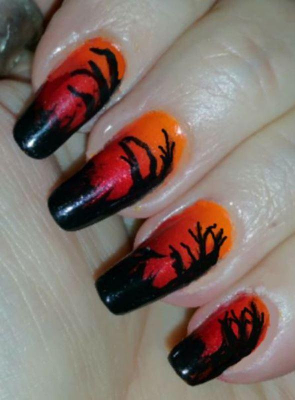 Halloween trees nail art by Maureen Spaulding