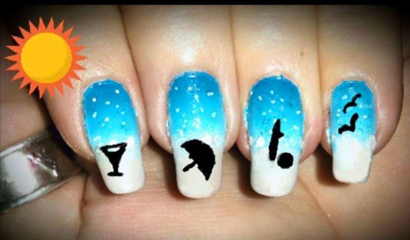 Summer beach  nail art by Maureen Spaulding