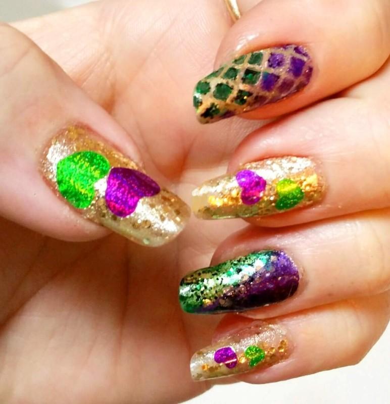 Mardi Gras nail art by Maureen Spaulding