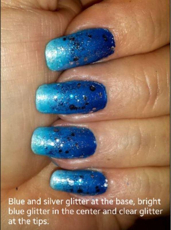 Blue mood nail art by Maureen Spaulding