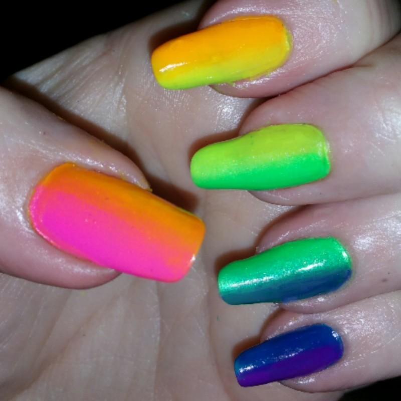 rainbow hand nail art by Maureen Spaulding