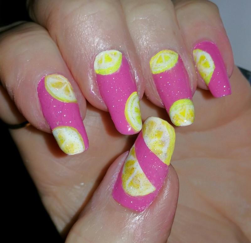 Pink lemonade nail art by Maureen Spaulding