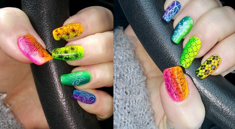 Rainbow blend nail art by Maureen Spaulding