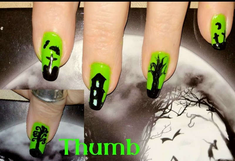 green halloween nail art by Maureen Spaulding