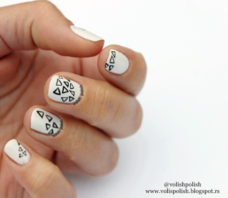 Black and white nail art design nail art by Volish Polish