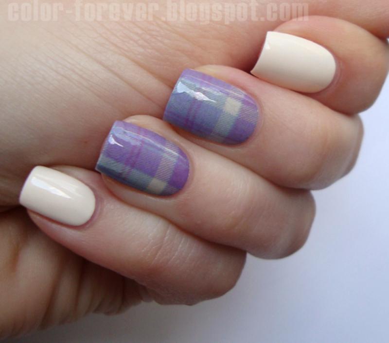 plaid manicure nail art by ania