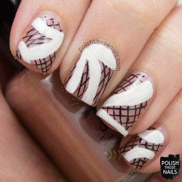 Neutral black white striped spring fashion nail art 4 thumb370f