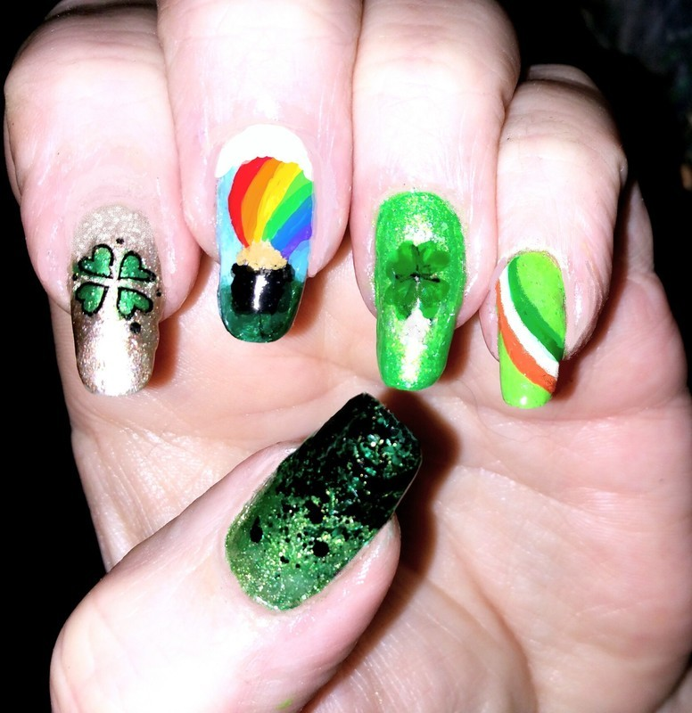 St. Patricks day  nail art by Maureen Spaulding