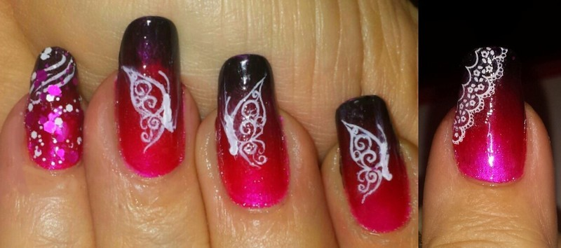 Pink and black butterflies with lace nail art by Maureen Spaulding