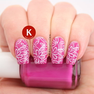 Simple pink floral nail art by Claire Kerr
