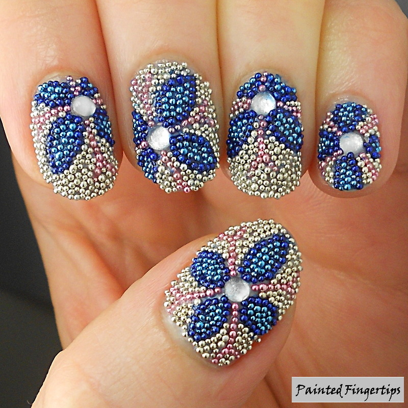 Microbead flowers nail art by Kerry_Fingertips