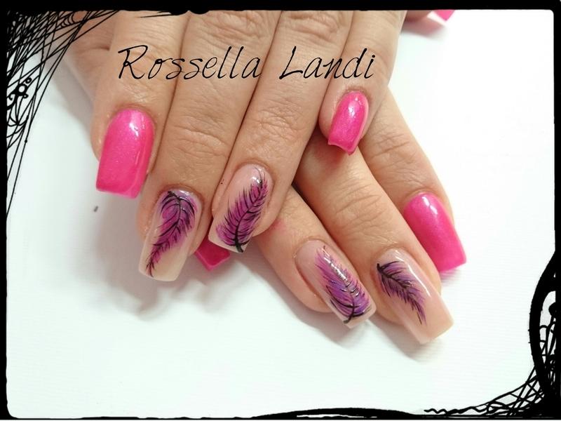 Pink plume nail art by Rossella Landi