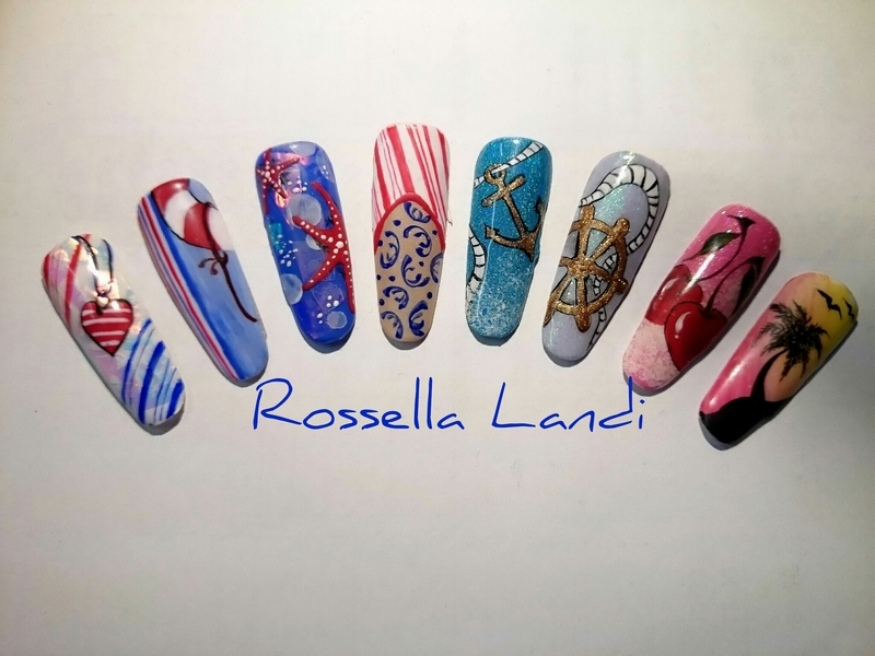 Summer nails nail art by Rossella Landi