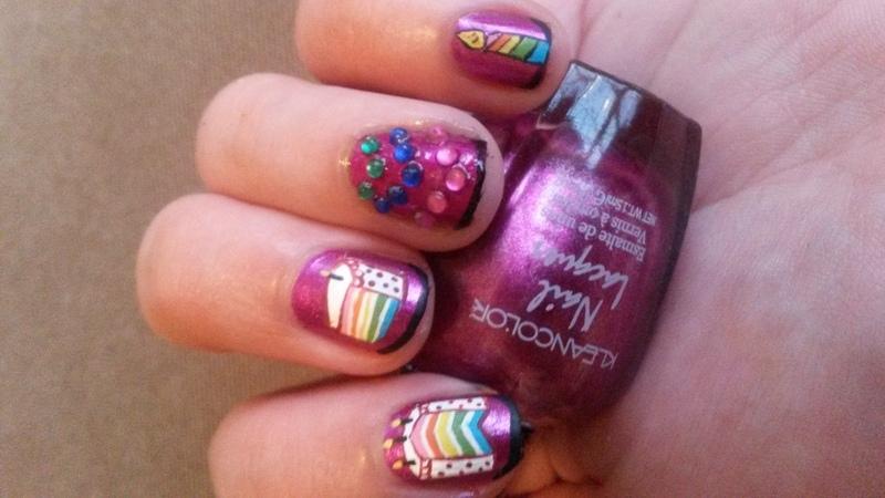 Rainbow Cake nail art by Kyra Smith