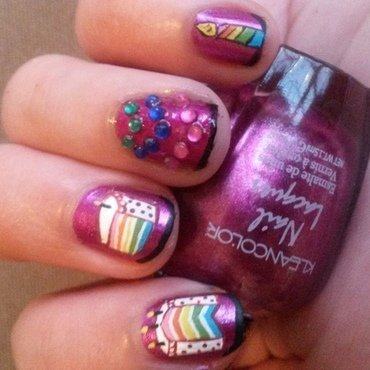 Rainbow Cake nail art by Kyra Smith