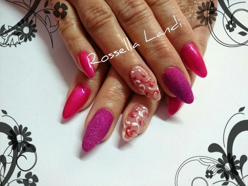 Pink sugar nail art by Rossella Landi