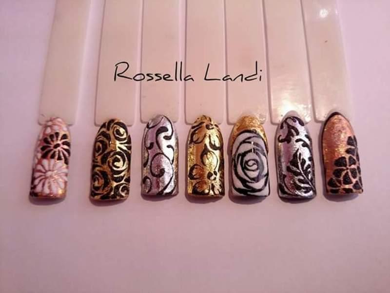 Velvet foil nail art by Rossella Landi