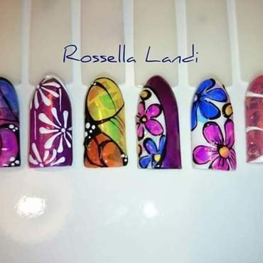 Glass Foil fantasy nail art by Rossella Landi