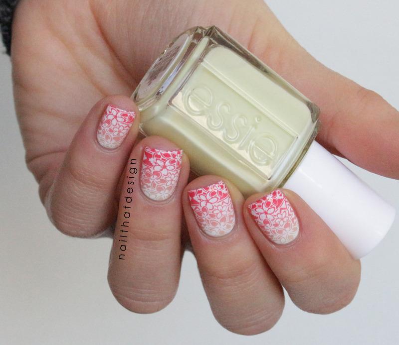 Tropical Gradient Stamping nail art by NailThatDesign