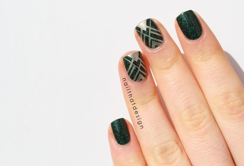 Kryptonite Stamping nail art by NailThatDesign