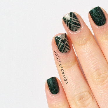 Kryptonite Stamping nail art by NailThatDesign