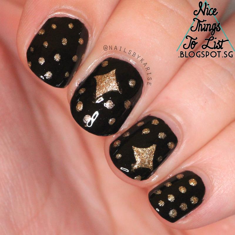 Gold Stars nail art by Karise Tan