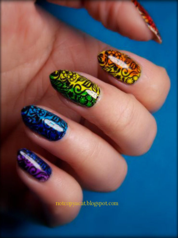 Rainbow flowers. nail art by notcopyacat