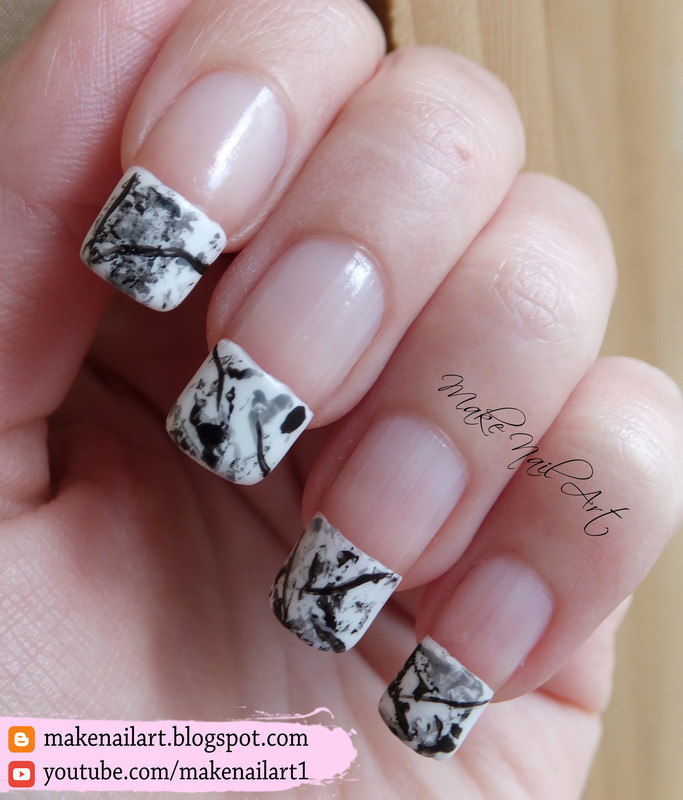 Stone Marble French Manicure nail art by Make Nail Art