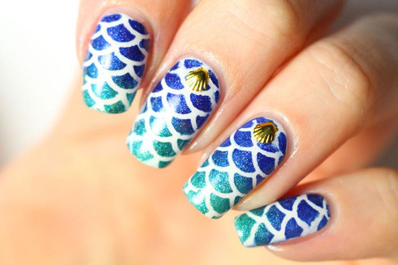 Mermaid nails nail art by Tribulons