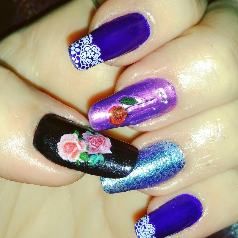 Mothers day in purple  nail art by Maureen Spaulding