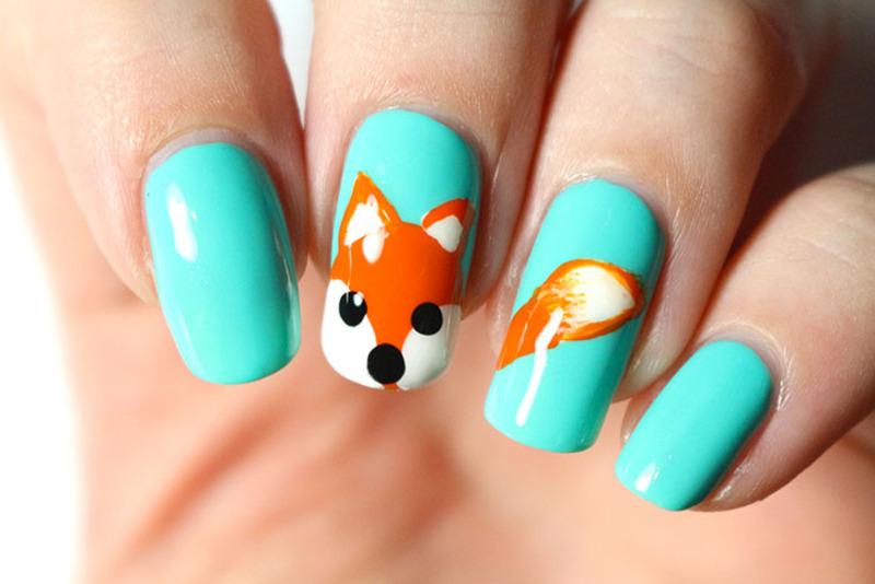 Little fox nail art by Tribulons
