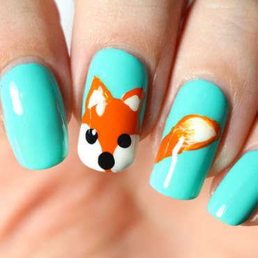 Little fox nail art by Tribulons