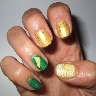 Pineapples have peelings too nail art by only real nails.
