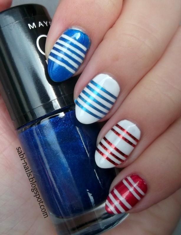 Day 12: Stripes nail art by Sabina