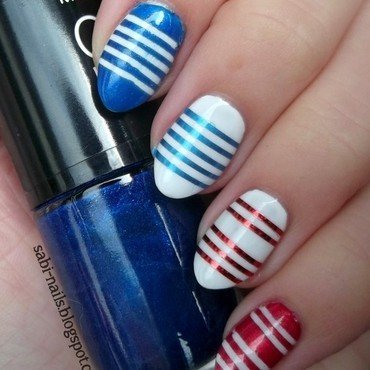 Day 12: Stripes nail art by Sabina