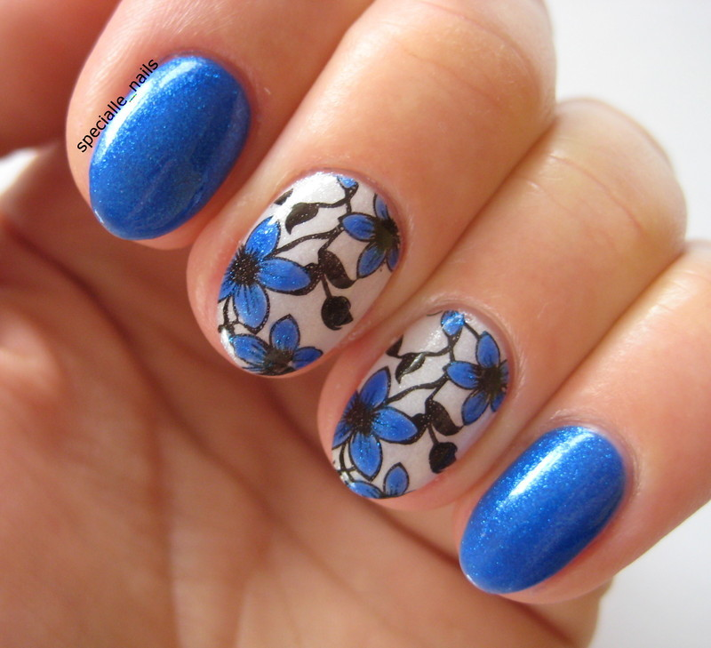 Blue flowers #2 nail art by specialle