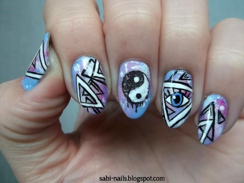 Day 19: Galaxies nail art by Sabina