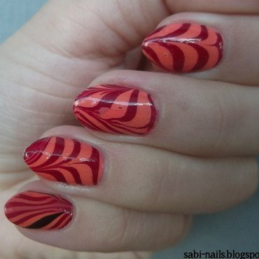 Day 20: Water marble nail art by Sabina