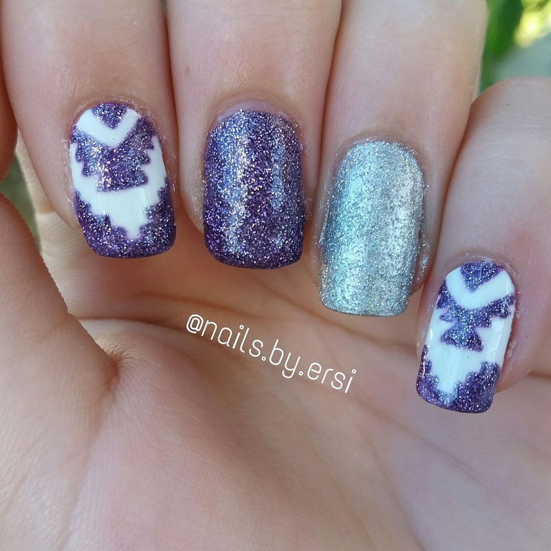 Glittery Aztec Nails nail art by NailsByErsi