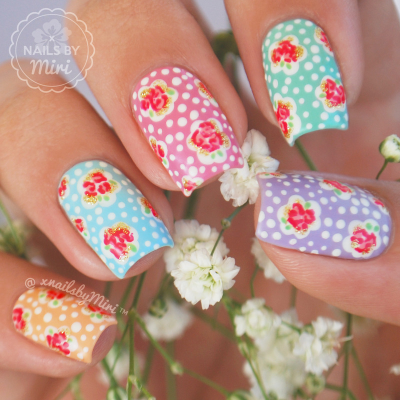 Cath Kidston Inspired Floral Nails nail art by xNailsByMiri