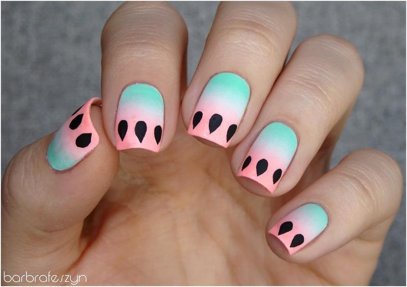 Pastel watermelon nail art by barbrafeszyn