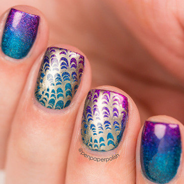Stamped Gradient nail art by Misty