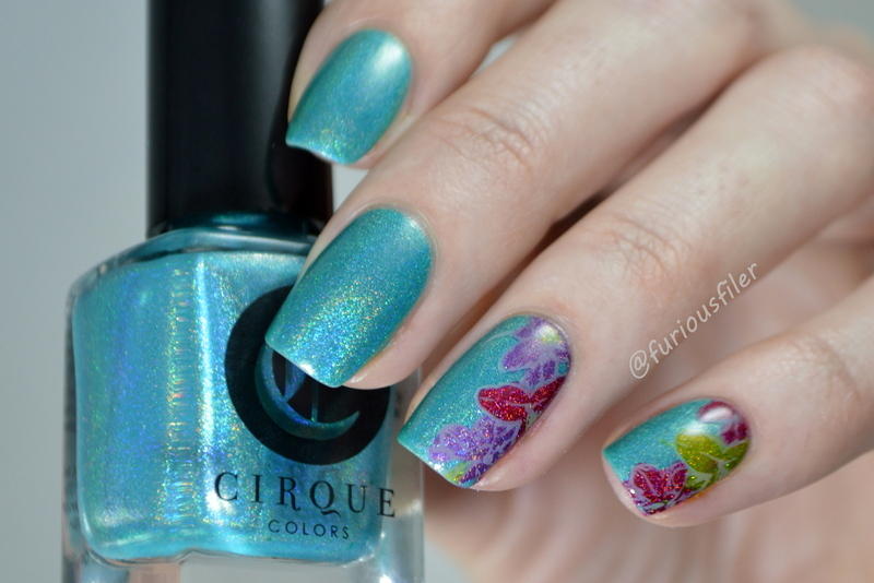 Holographic Florals nail art by Furious Filer