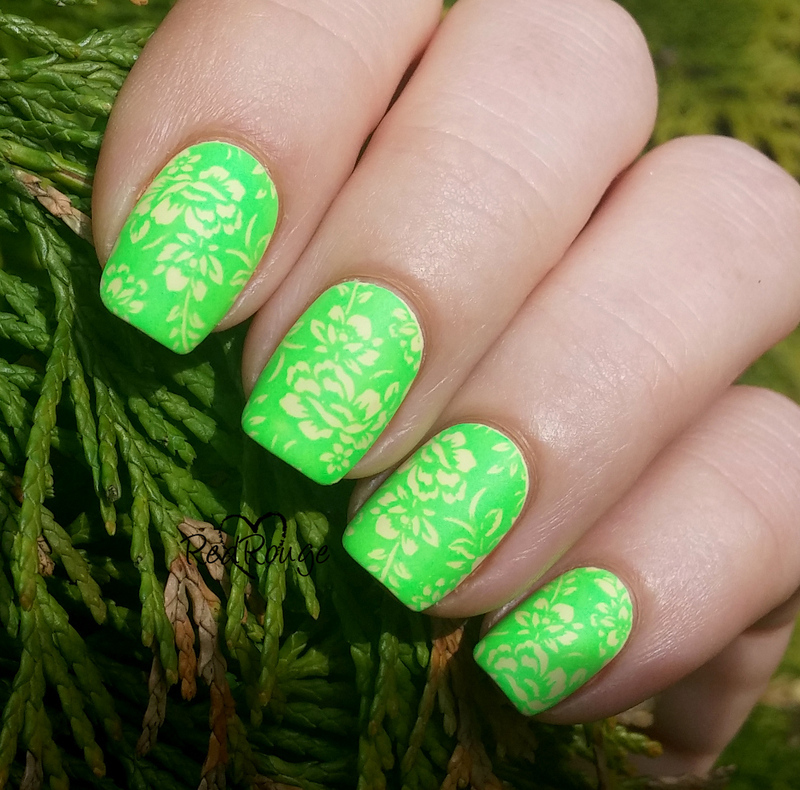 Neon stamping Polish nail art by RedRouge