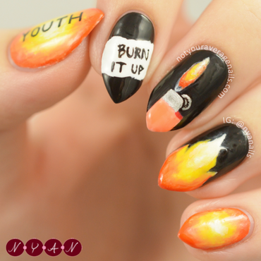 Fire nail art by Becca (nyanails)